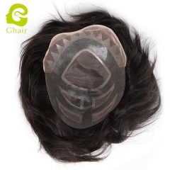 GHAIR 100% human hair Indian man toupee sunny type