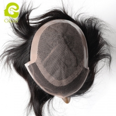 GHAIR 100% human hair Indian man toupee lace+PU type straight