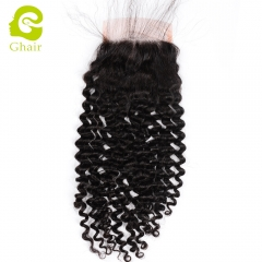 GHAIR 100% Virgin human hair deep curly 1B# 4*4 lace closure with baby hair