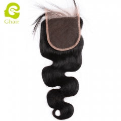 GHAIR 100% Virgin human hair body wave 1B# 4*4 lace closure with baby hair