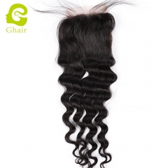 GHAIR 100% Virgin human hair loose deep wave 1B# 4*4 lace closure with baby hair