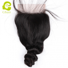 GHAIR 100% Virgin human hair single loose wave 1B# 4*4 lace closure with baby hair