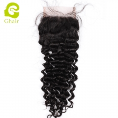 GHAIR 100% Virgin human hair deep wave 1B# 4*4 lace closure with baby hair