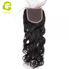 GHAIR 100% Virgin human hair natural wave 1B# 4*4 lace closure with baby hair