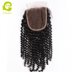 GHAIR 100% Virgin human hair kinky curly 1B# 4*4 lace closure with baby hair