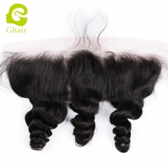 GHAIR 100% virgin human hair single loose wave 1B# 13*4 lace frontal for black women