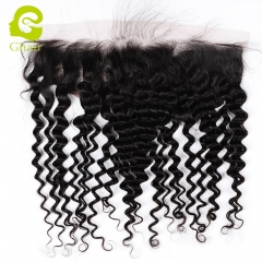 GHAIR 100$ virgin human hair deep wave 1B# 13*4 lace frontal with prepluacked hairline