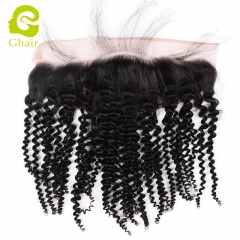 GHAIR 100% virgin human hair kinky curly 1B# 13*4 lace frontal natural hairline