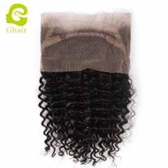 GHAIR 100% virgin human hair deep wave 1B# 360 lace frontal with baby hair