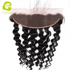 GHAIR 100% virgin human hair loose deep wave 1B# 13*4 lace frontal with baby hair