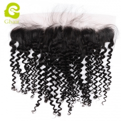 GHAIR 100% virgin human hair deep curly 1B# 13*4 frontal for black women