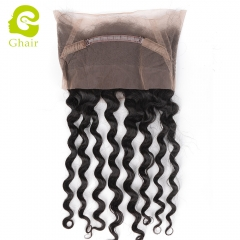 GHAIR Brazilian virgin human hair loose deep wave 1B# 360 lace frontal with baby hair