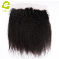 GHAIR 100% virgin human hair kinky straight 1B# 13*4 lace frontal with preplucked hairline