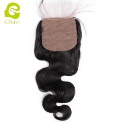 GHAIR 100% Virgin human hair body wave 1B# 4*4 silk base closure with baby hair