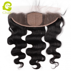 GHAIR Brazilian virgin human hair body wave 1B# 13*4 silk base lace frontal with baby hair
