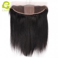 GHAIR Brazilian virgin human hair straight 1B# 13*4 silk base lace frontal with baby hair