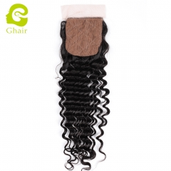 GHAIR 100% Virgin human hair deep wave 1B# 4*4 silk base closure with baby hair