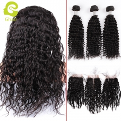 GHAIR Brazilian virgin human hair kinky curly 3 bundles with closure 1B# natural black color