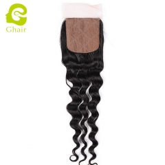 GHAIR 100% Virgin human hair loose deep wave 1B# 4*4 silk base closure with baby hair
