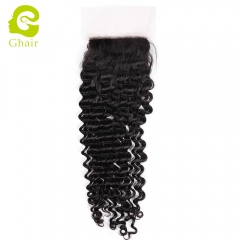 GHAIR 100% Virgin human hair deep curly 1B# 4*4 silk base closure with baby hair