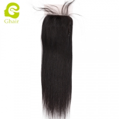 GHAIR 100% Virgin human hair straight wave 1B# 4*4 silk base closure with baby hair