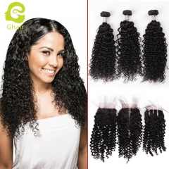 GHAIR Brazilian virgin human hair deep curly 3 bundles with closure 1B# natural black color