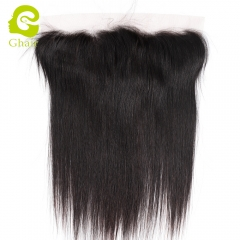 GHAIR 100% virgin human hair straight 1B# 13*4 silk base lace frontal with baby hair
