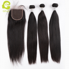 HOT SALE | GHAIR Brazilian virgin human hair straight 3 bundles with closure 1B# natural black color soft and full
