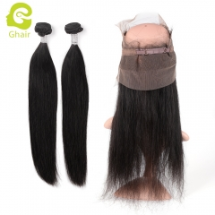 GHAIR Brazilian virgin human hair straight 1b# 360 frontal and 2bundles