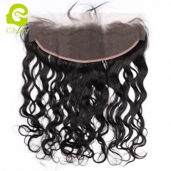 GHAIR Brazilian virgin human hair natural wave 1B# 13*4 lace frontal with baby hair