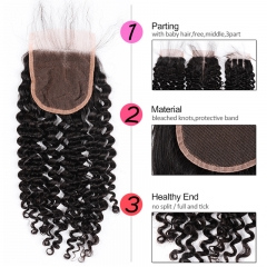 GHAIR Brazilian Virgin human hair deep curly 1B# 4*4 lace closure with baby hair