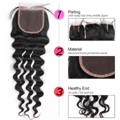 GHAIR Brazilian Virgin human hair loose deep wave 1B# 4*4 lace closure with baby hair
