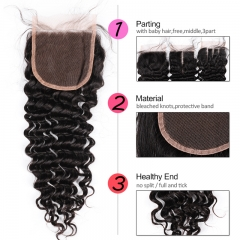 GHAIR Brazilian Virgin human hair deep wave 1B# 4*4 lace closure with baby hair