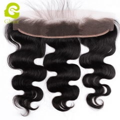 GHAIR Brazilian virgin human hair body wave 1B# 13*2 lace frontal with baby hair