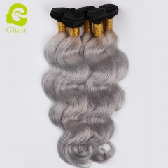 GHAIR Brazilian virgin human hair body wave 3 bundles with closure 1B/Grey# color