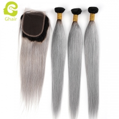 GHAIR Brazilian virgin human hair straight 3 bundles with closure 1B/Grey# color