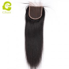 GHAIR 100% Virgin human hair straight 1B# 4*4 lace closure with baby hair