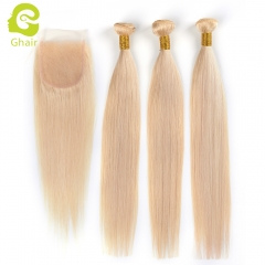 GHAIR Brazilian virgin human hair straight 3 bundles with closure 613# blonde color