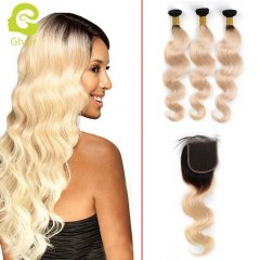 GHAIR Brazilian virgin human hair body wave 3 bundles with closure 1B/613# blonde color