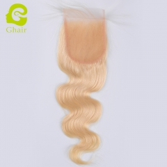 GHAIR Malysian virgin human hair body wave 3 bundles with closure 613# blonde color