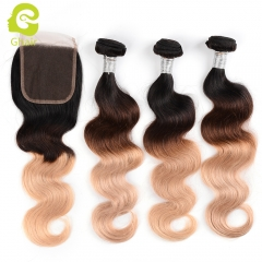 GHAIR Brazilian virgin human hair body wave 3 bundles with closure 1B/4/27# color