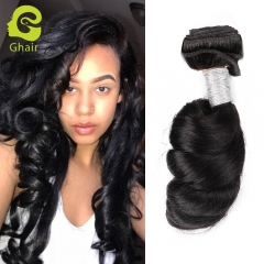 GHAIR Brazilian virgin human hair weave single loose wave bundle 1B# natural black color