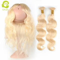 GHAIR Brazilian virgin human hair body wave 613# blonde 360 frontal and 2bundles