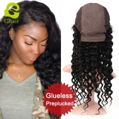HOT SALE | GHAIR Brazilian virgin human hair front lace wig deep wave 1B# wig with baby hair glueless for black women