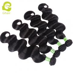 GHAIR 4 bundles 100% virgin human hair weave body wave bundle 1B# natural black color Shedding free