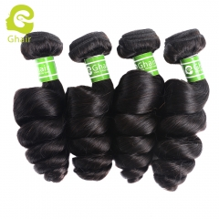 GHAIR Brazilian 4 bundles virgin human hair weave loose wave bundle 1B# natural black color Shedding free