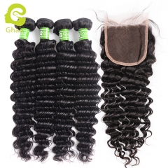 GHAIR 100% virgin human hair deep wave 4 bundles with closure 1B# natural black color