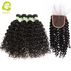GHAIR Brazilian virgin human hair deep curly 4 bundles with closure 1B# natural black color