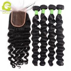 GHAIR 100% virgin human hair loose deep wave 4 bundles with closure 1B# natural black color