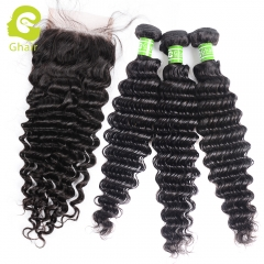 GHAIR Brazilian virgin human hair deep wave 3 bundles with closure 1B# natural black color